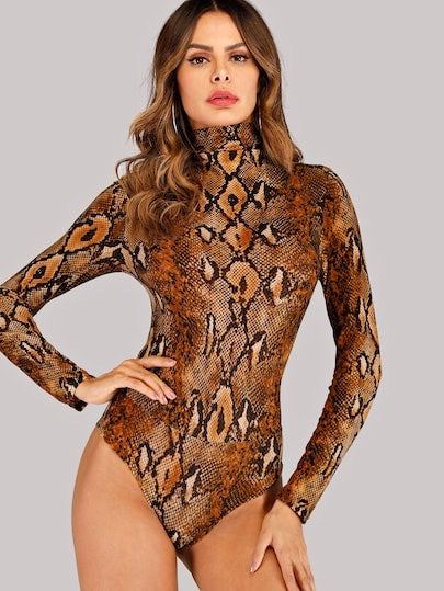 Snake Print High Neck Bodysuit