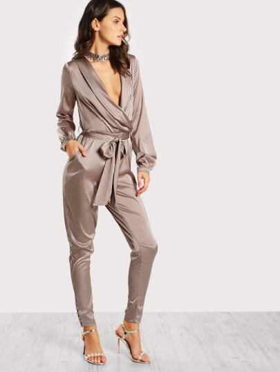 Shawl Collar Wrap And Tie Satin Jumpsuit