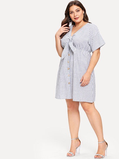 Plus Size Striped Single Breasted Cut Out Knot Front Dress