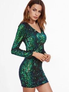 Green Iridescent Long Sleeve Sequin Bodycon Dress