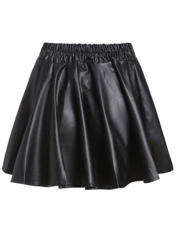 Black Faux Leather Elastic Waist Flare Skirt