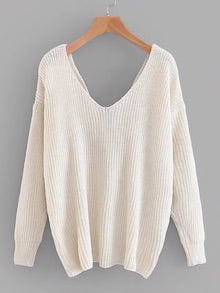 Cream Twist Back Drop Shoulder Sweater