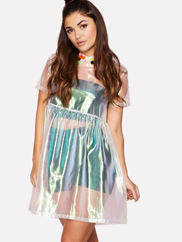 Metallic Smock Dress