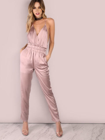 Low Back Cross Back Satin Jumpsuit