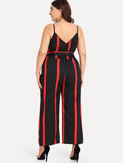 Plus Size Self Tie Waist Striped Jumpsuit