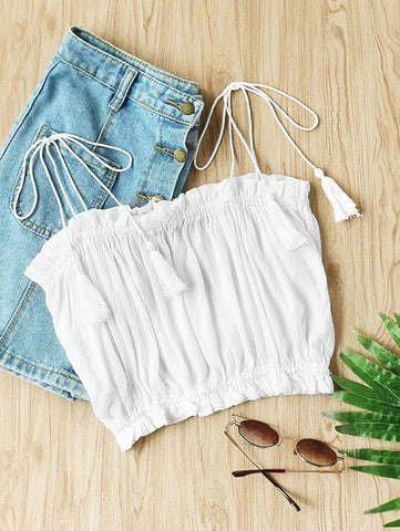 Strapless Frill Trim Crop Top