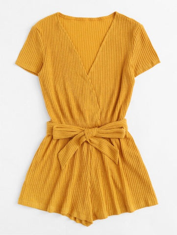 Self Tie Waist Ribbed Wrap Romper