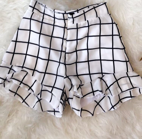 Black and White Two Pc Shorts