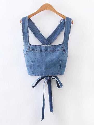 Frayed Detailed Criss Cross Back Denim Top