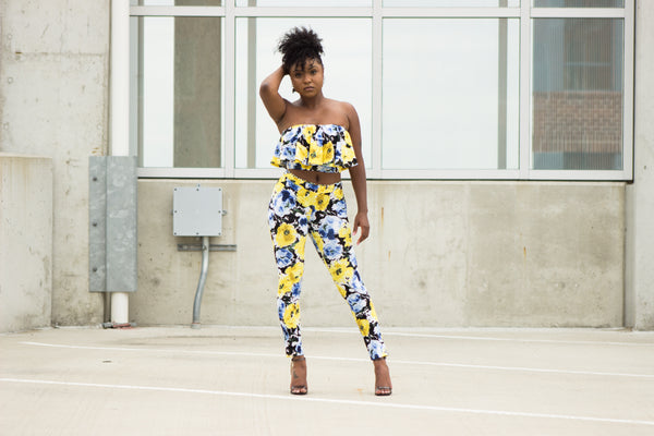 Yellow Floral Print Pants
