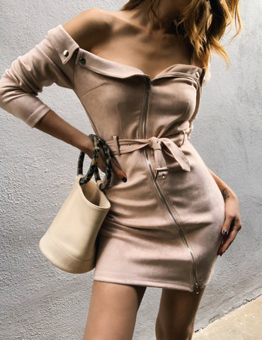 Dress of shoulders suede