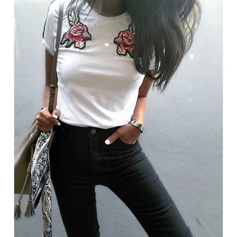 Embrodery flower t-shirt Rose