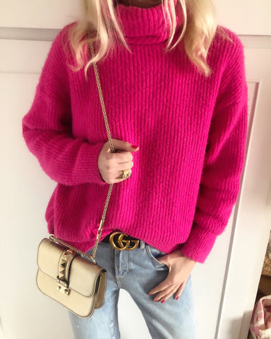 Fuschia  high roll sweater