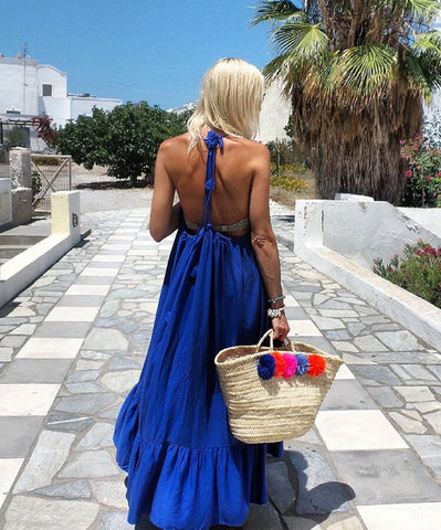 Maxi dress blue santorini