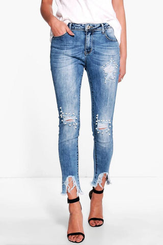 Jeans distressed with pearl