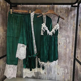 Velvet green cozy home set