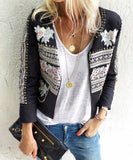 Embellished flower jacket Eloise 9278 black jeans