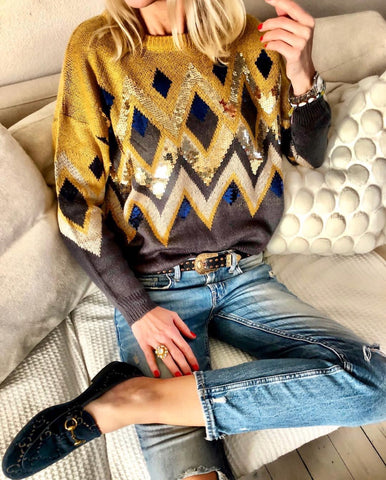 Yellow glitter sweater
