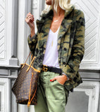 Camouflage fake fur jacket