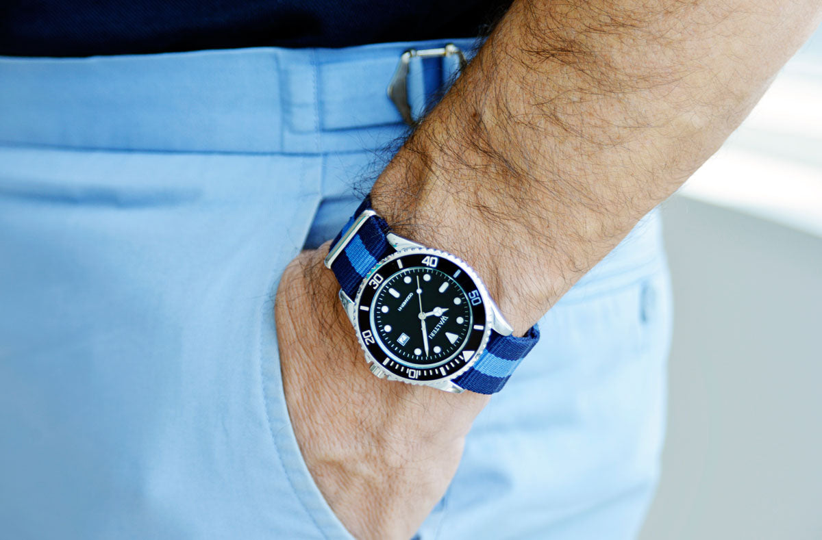 Walteri Oceaner 41 Watch  Nato / Navy Blue & Blue