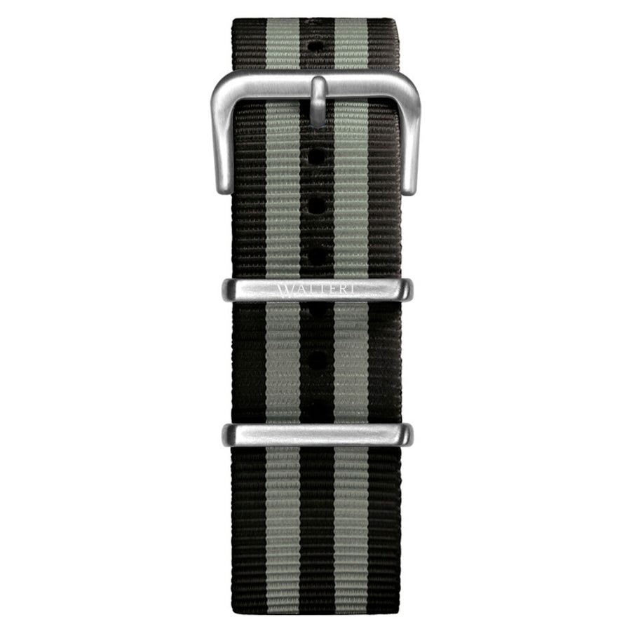 NATO STRAP BLACK & GREY WATCH - WALTERI