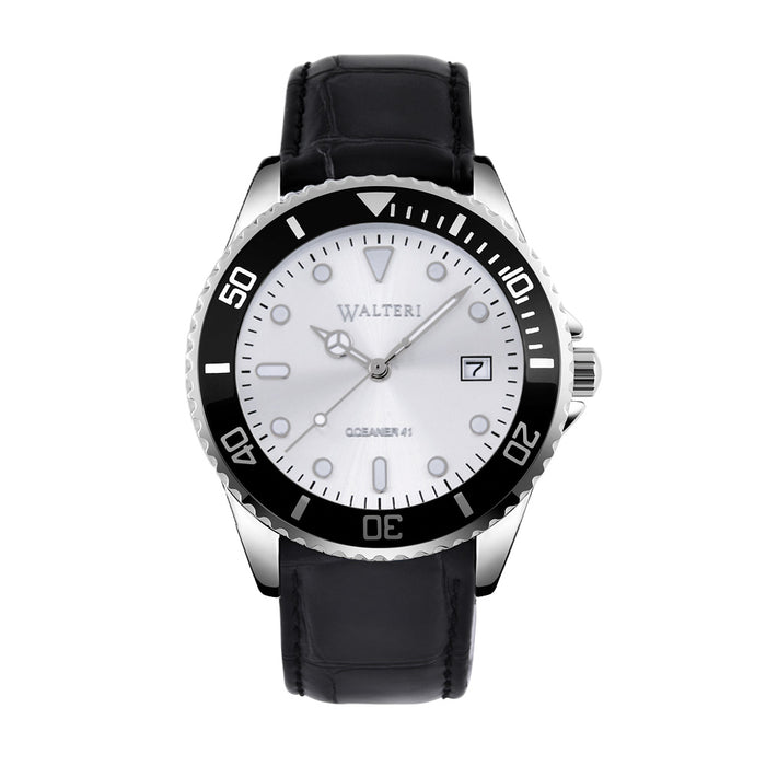 OCEANER 41 -  LEATHER / BLACK CROCO WATCH - WALTERI