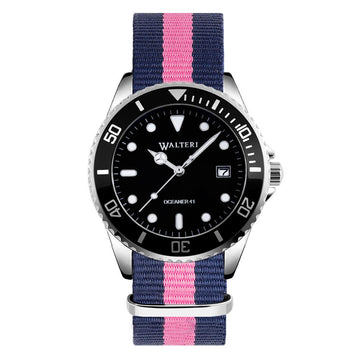 OCEANER 41 - NATO / NAVY BLUE & PINK WATCH - WALTERI