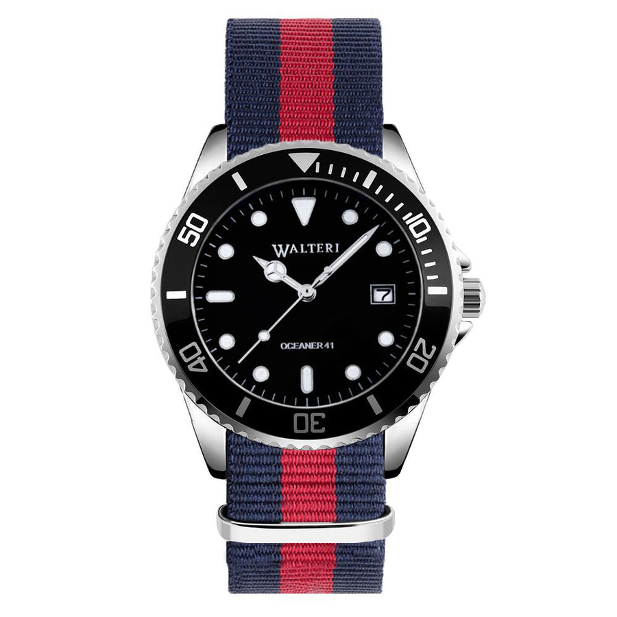 OCEANER 41 - NATO / NAVY BLUE & RED WATCH - WALTERI
