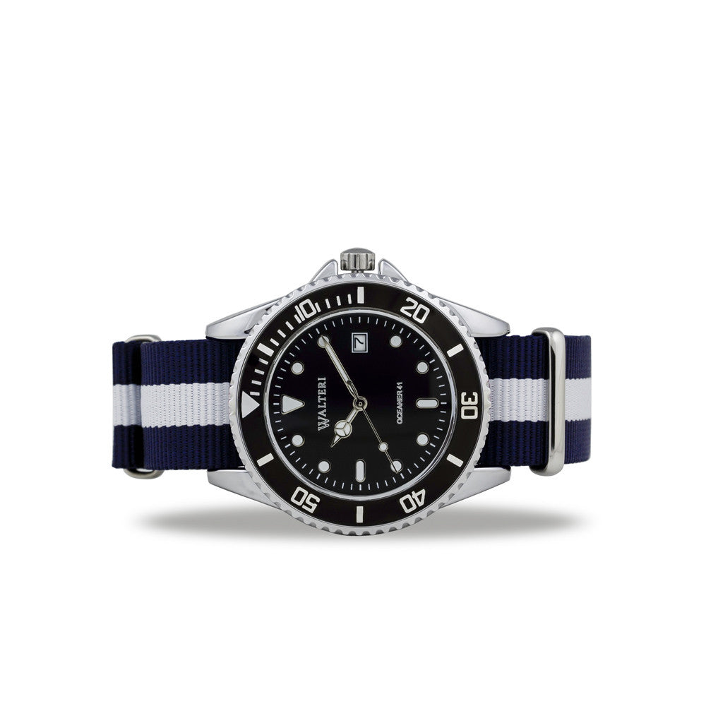 OCEANER 41 - NATO / NAVY BLUE & WHITE WATCH - WALTERI