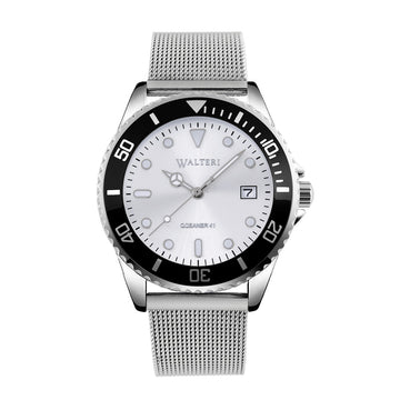 OCEANER 41 -  STEEL/ SILVER MESH WATCH - WALTERI