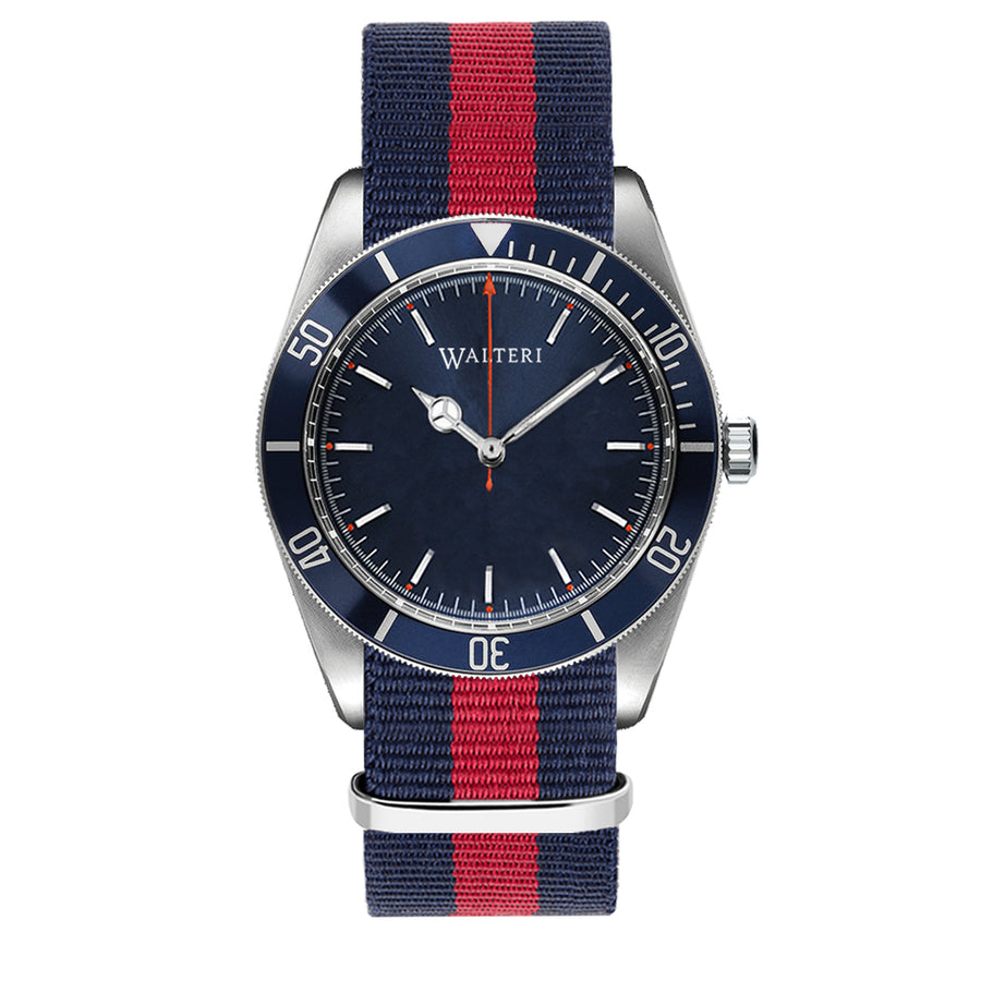 OCEANER 42 - NATO / NAVY BLUE & RED WATCH - WALTERI