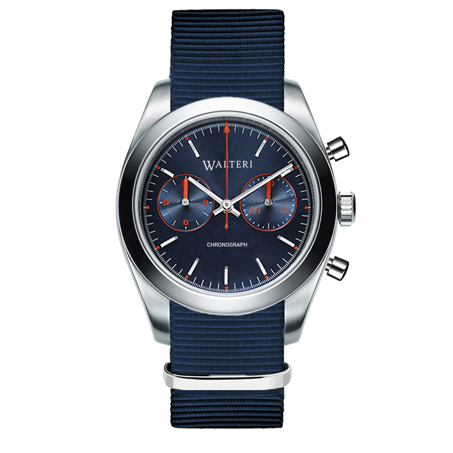 TRAVELLER 42 CHRONOGRAPH -  NATO / NAVY BLUE WATCH - WALTERI