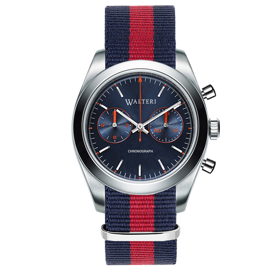 TRAVELLER 42 CHRONOGRAPH -  NATO / NAVY BLUE & RED WATCH - WALTERI