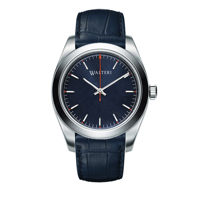 TRAVELLER 42 -  LEATHER / BLUE CROCO WATCH - WALTERI