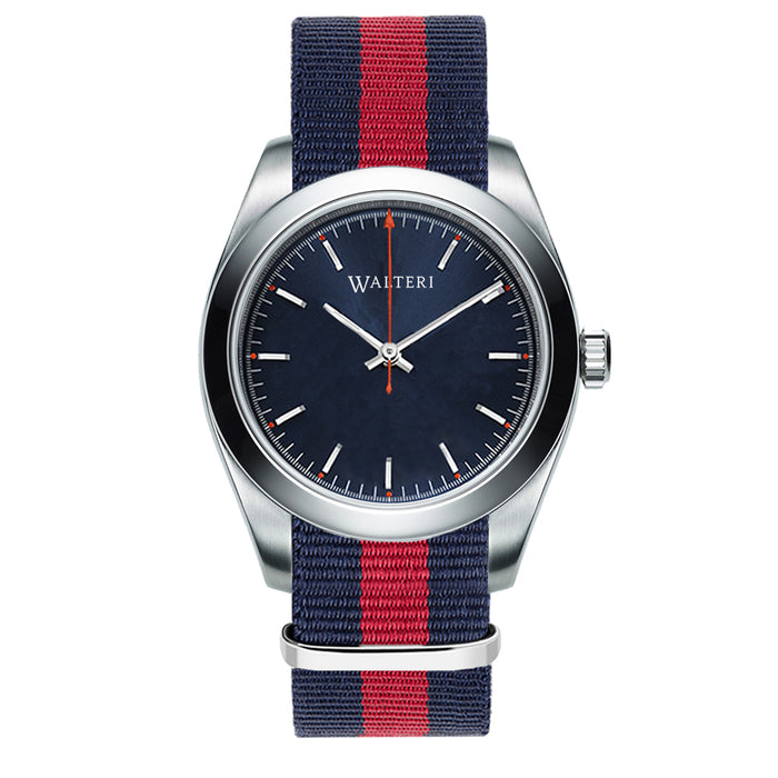 TRAVELLER 42 -  NATO / NAVY BLUE & RED WATCH - WALTERI