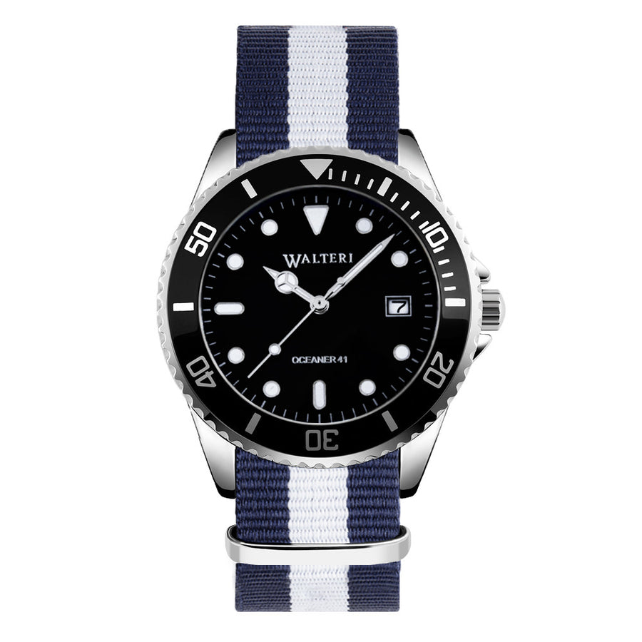 NATO STRAP NAVY BLUE & WHITE WATCH - WALTERI