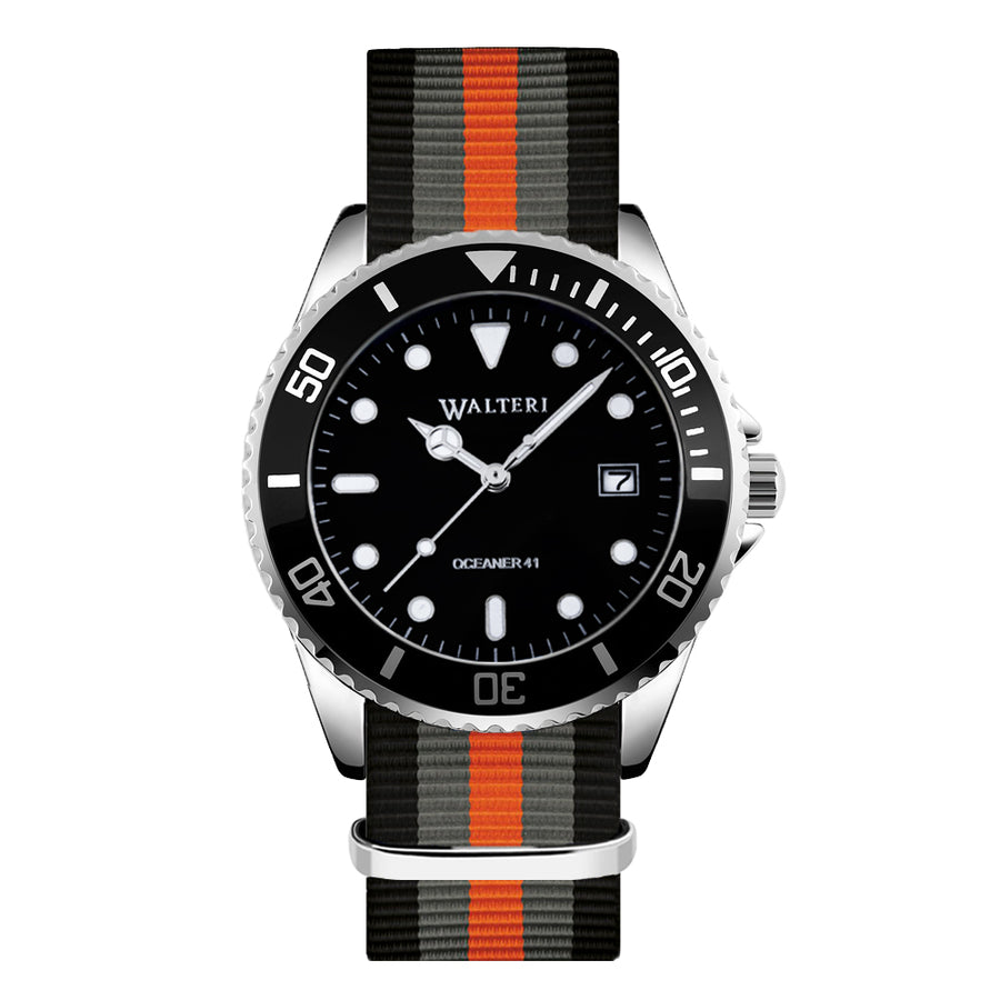 NATO STRAP BLACK & GREY & ORANGE WATCH - WALTERI