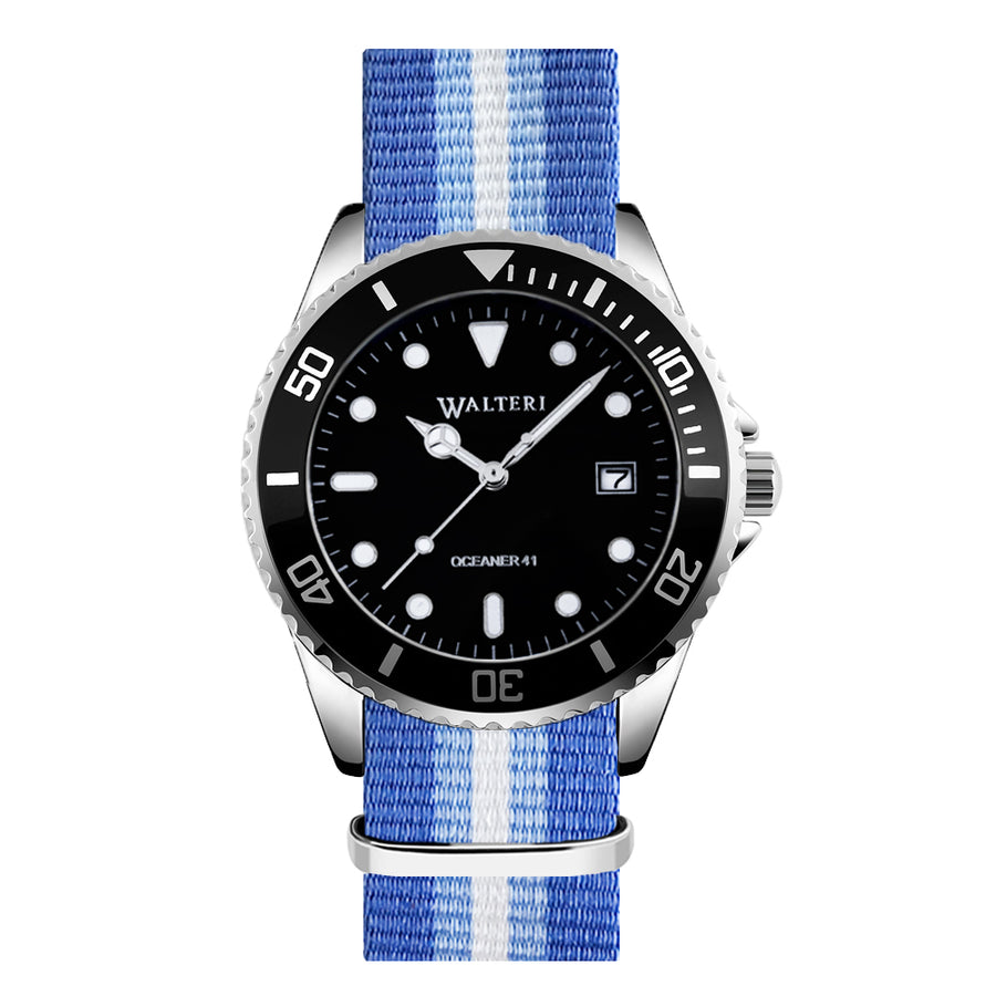NATO STRAP BLUE & WHITE WATCH - WALTERI