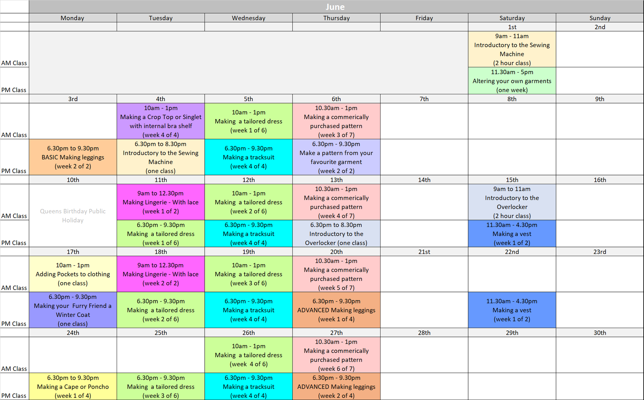 timetable for sewing school 2019