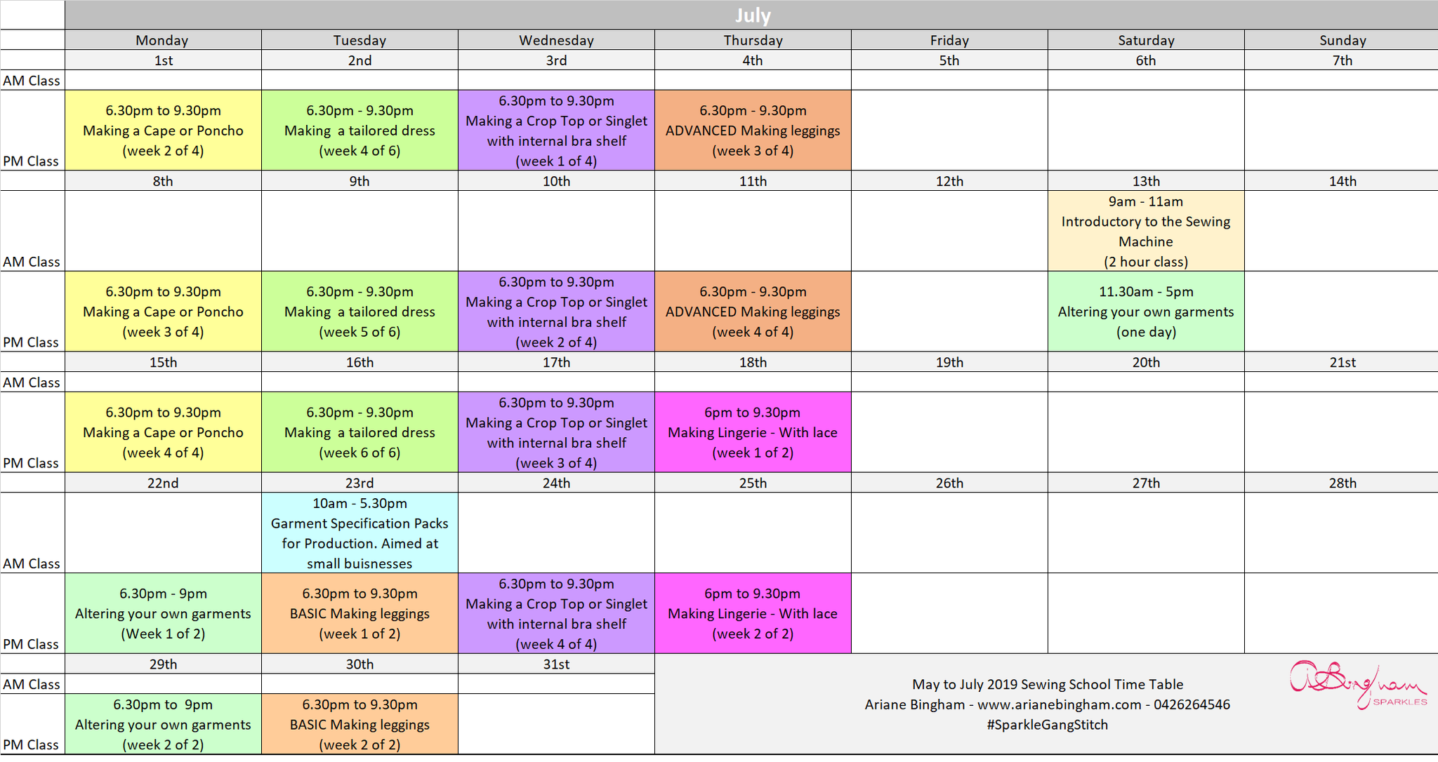 winter sewing school class timetable