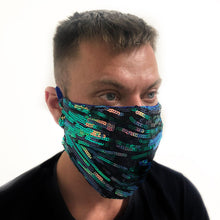 Kensington Pleated Teal Stripe Sequin  *Limited Edition* Face Mask. Adults and Child Sizes. Made to order