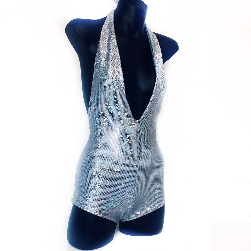 XS - Imogen Bodysuit - Silver Space Sparkle and Blue