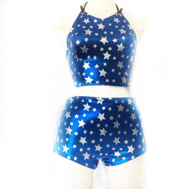 M Mad Dame Halter and XL Jaimee Short - Blue with Silver Stars and Black