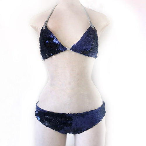 S/M Kira Bralett  and M Ellen Knicker- Dusty Blue and Black Sequin with Silver