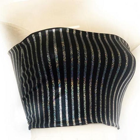 M - Rhea Boobtube - Black and Silver Stripe with Black