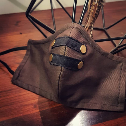 HellyDee Steampunk Suede Straps Face Mask