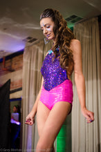 S - Vicky Bodysuit - Galaxy Purple Sequins and Hot Pink