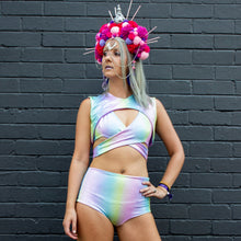 Multiple Sizes - Jaimee  Shorts - Sherbet Rainbow Holographic