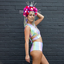 Multiple Sizes - Nicole Crop Top - Sherbet Rainbow Holographic