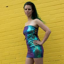 M - Enya Lace Up Dress - Purple Mermaid Holographic